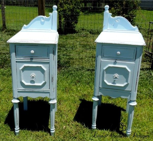 Before And After Upcycled Antique Vanity Nightstands Painted