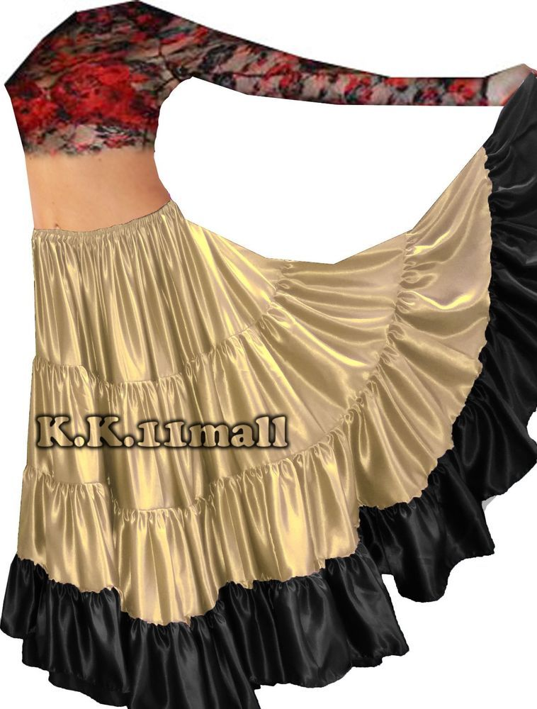 MAROON 25 Yard 4 Tiered Cotton Skirt Belly Dance GYPSY Rock Tribal Flamenco