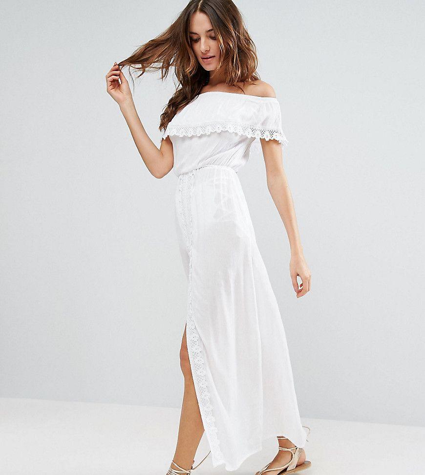 akasa - schulterfreies strandkleid mit rüschen - weiß jetzt