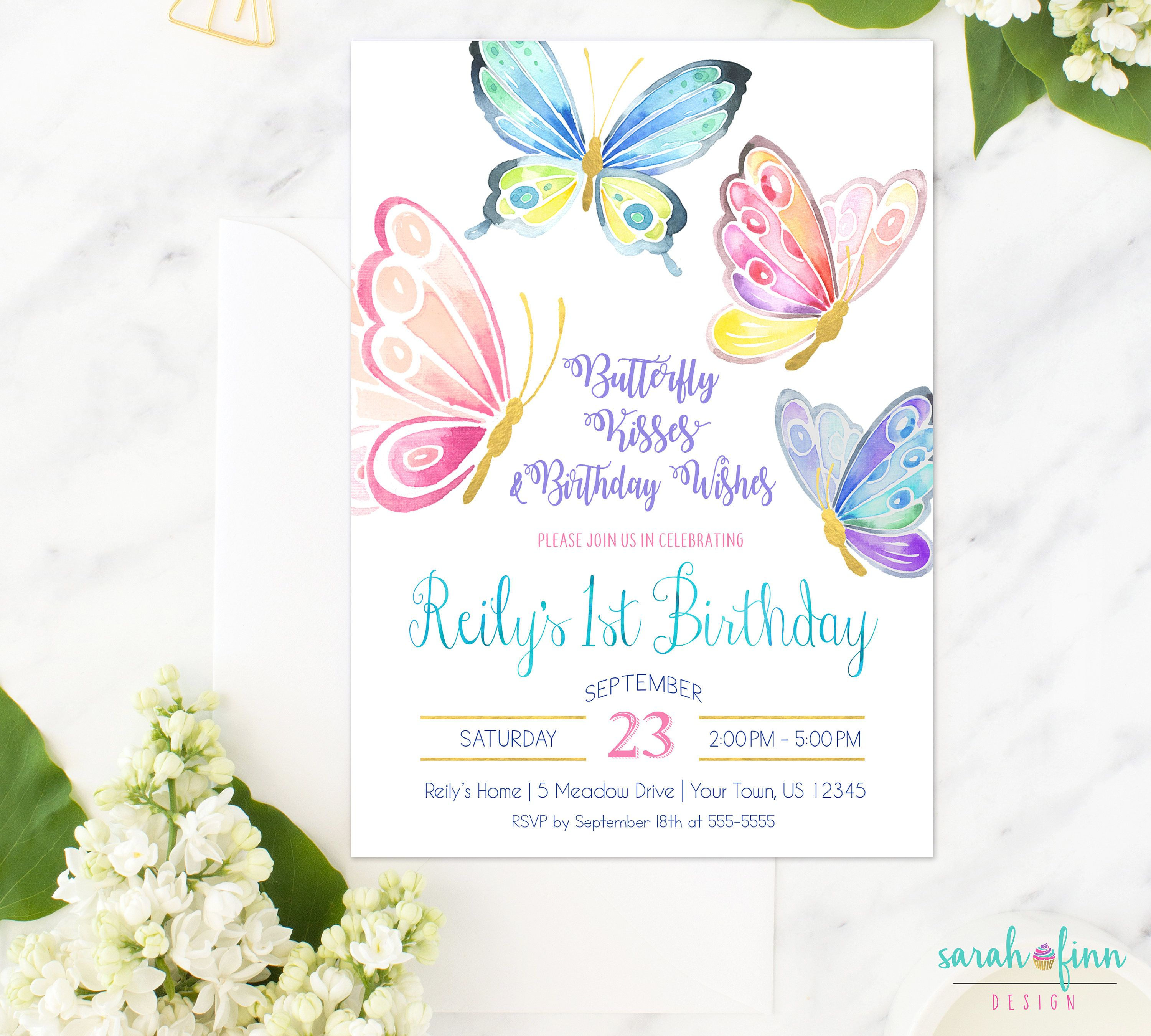Butterfly Invitation Birthday Party Invite First Printable Butterflies By SarahFinnDesign