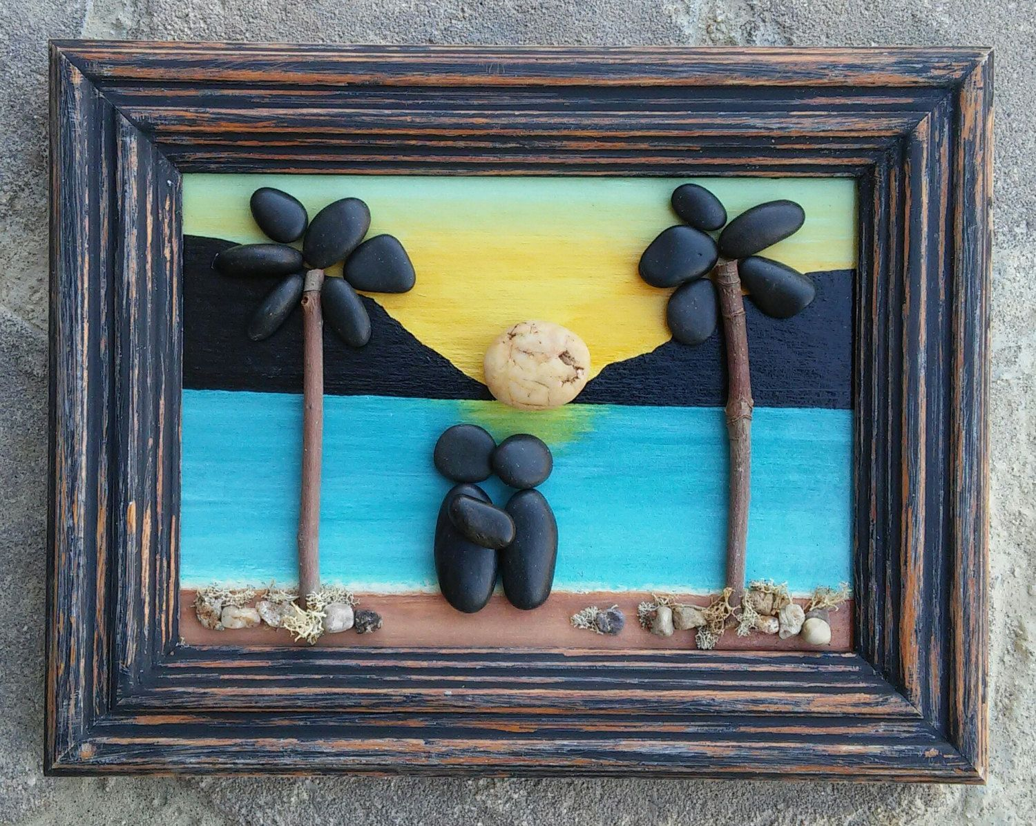 "Pebble Art Couple on the beach at sunset overlooking the ocean under palm trees set in an ""open"" 5x7 wood frame by CrawfordBunch on Etsy"