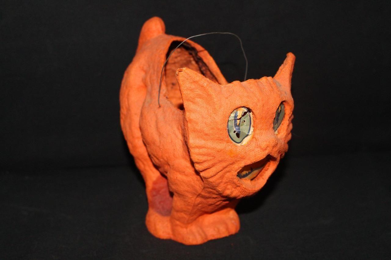 Antique Paper Mache Halloween Cat Kitten Pumpkin Vintage Scary Jack O Lantern | eBay