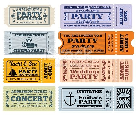 entertainment party and cinema vector vintage tickets and coupons