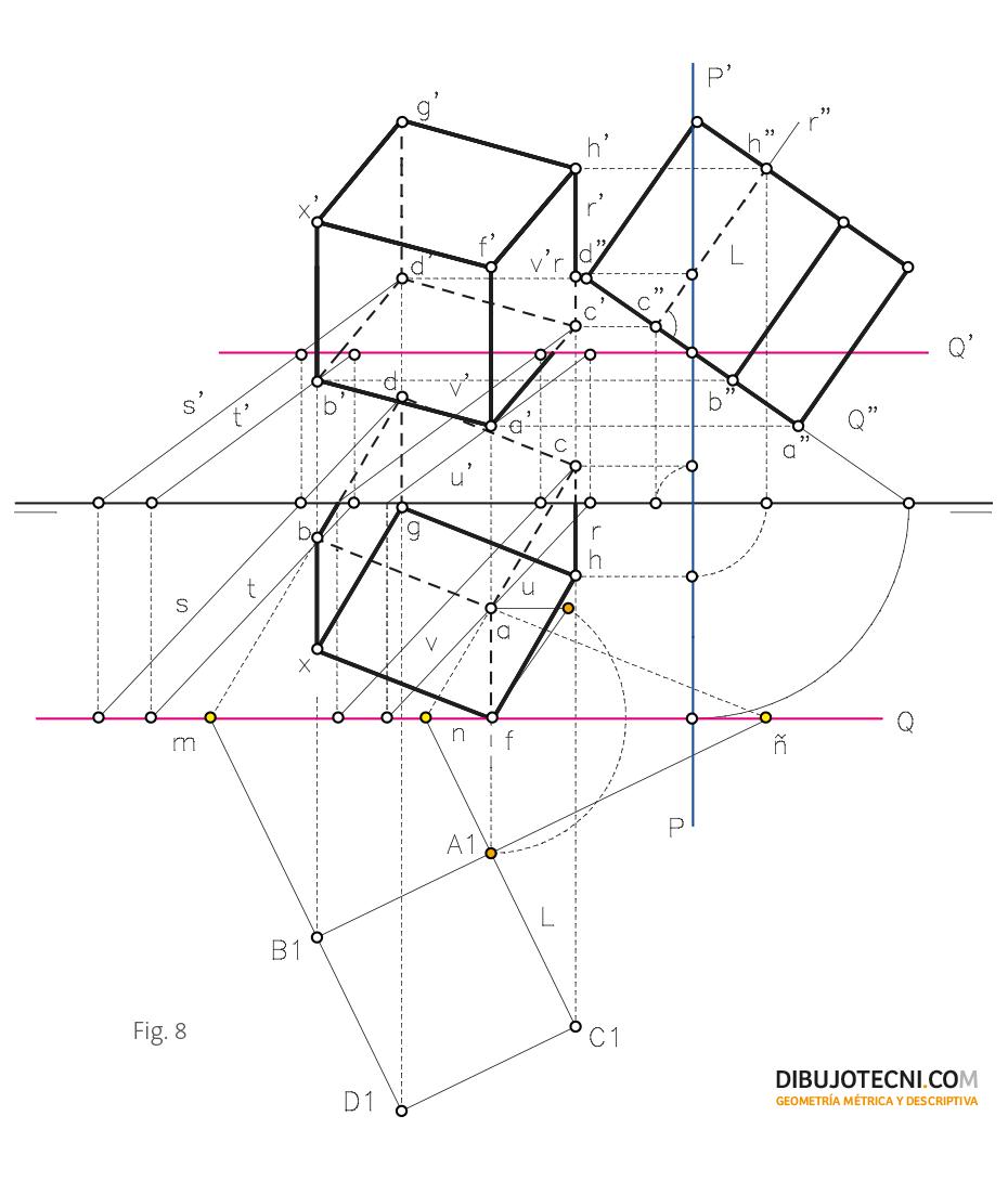 Hexaedro Con Una De Sus Caras Apoyada En Un Plano Cualquiera Técnicas De Dibujo Geometría Descriptiva Dibujo Tecnico Bachillerato