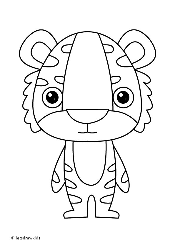 Baby Tiger coloring page for kids, animal coloring pages ... | 842x595