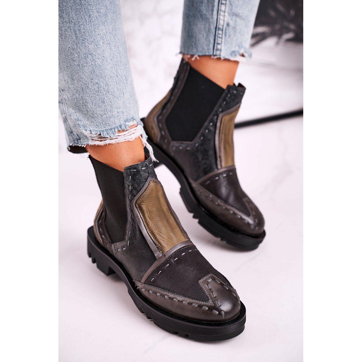 Botki Damskie Skorzane Sztyblety Maciejka Szare 04634 03 Bezowy Brazowe Chelsea Boots Ankle Boot Boots