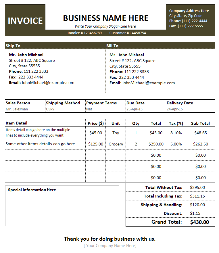free sales invoice template for excel