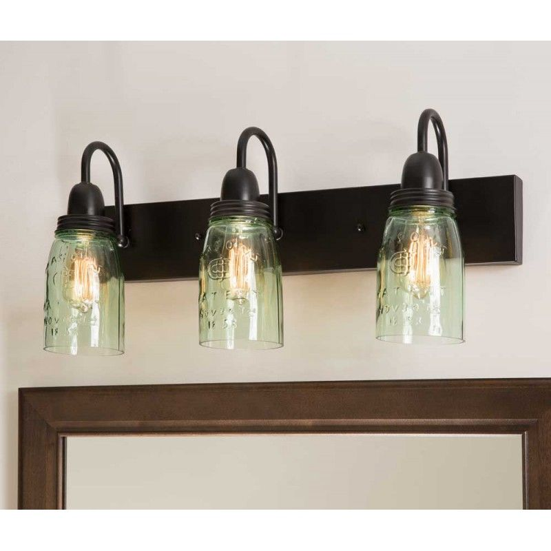 Mason Jar Vanity Lamp is part of Home Accessories Decor Mason Jars - Stylish Cottage Livings' Mason Jar Vanity Lamp can delight a bathroom or bedroom with charming rustic flair