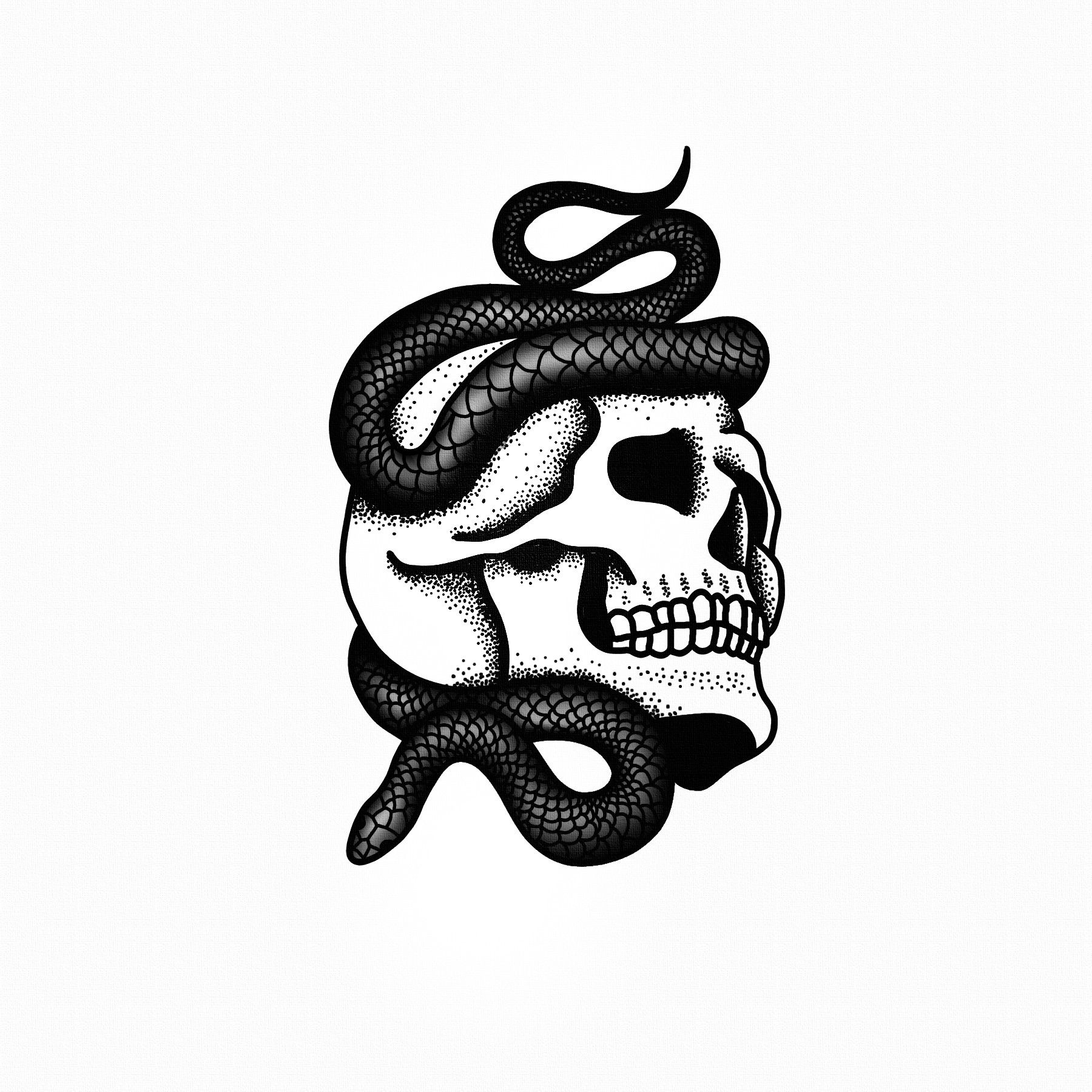 Illustration Tattoos: STANLEY DUKE Tattoo Illustration Blackwork Black Skull