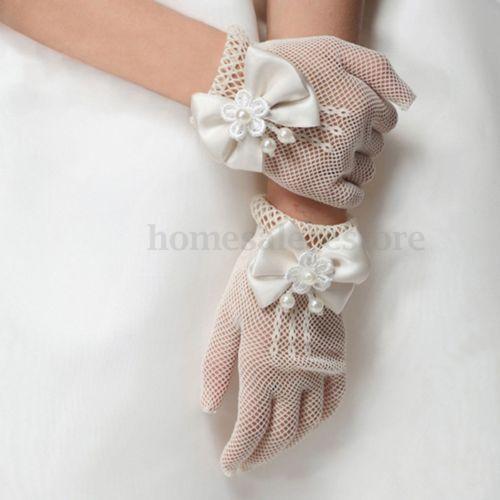 Kids Short Ivory Cream Satin Feel Gloves Bridesmaid Flower Girl Holy Communion