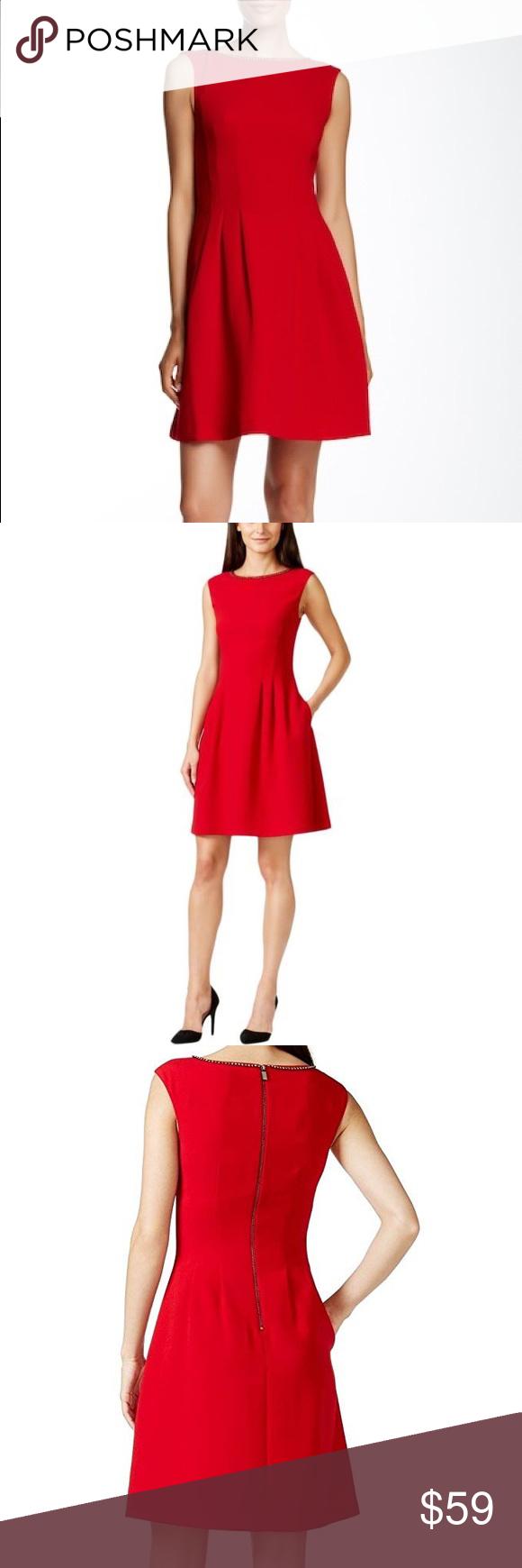 Nwt Vince Camuto Red Embellished Neck Dress Embellished Neck Dress Dresses Clothes Design [ 1740 x 580 Pixel ]