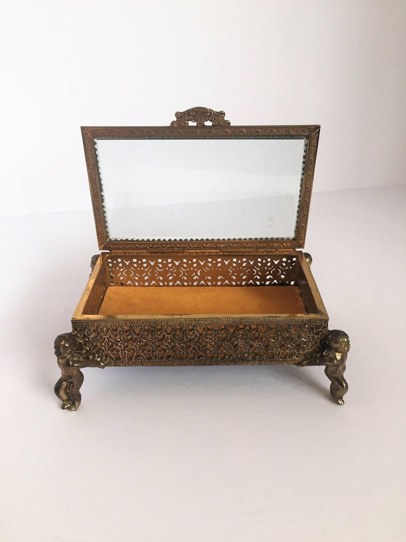 65 vintage ornate jewelry box metal ornate cherub jewel box mothers