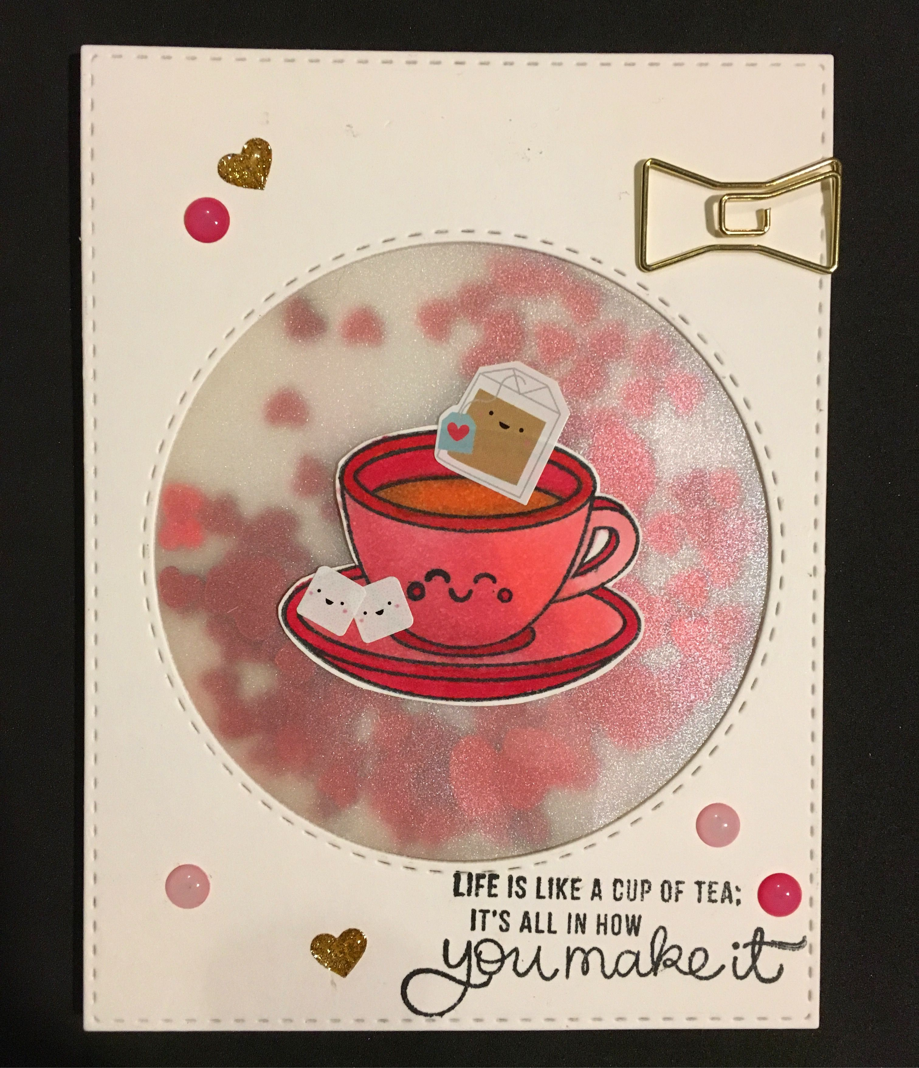 Happy card (recreated from Crafting with Amy) using the Simon Says Stamp February/Valentines 2017 card kits