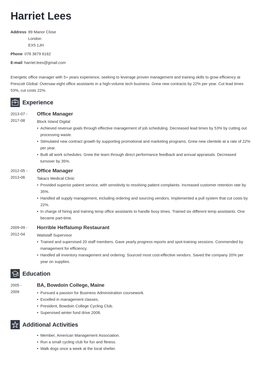 office manager resume example template newcast in 2020