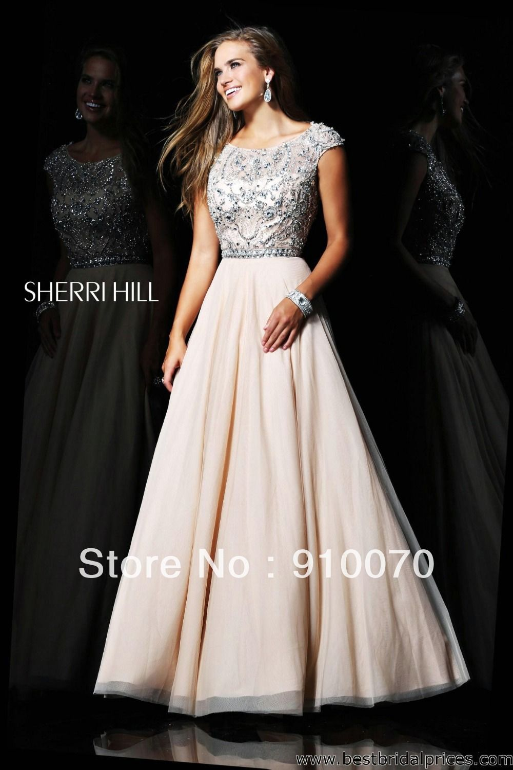 Graceful designer short cap sleeve crystals beaded long pageant prom