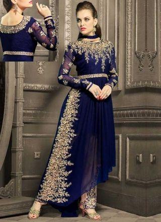 4128f82eb3 Navy Blue Embroidery Work Georgette Designer Party Wear Fancy Anarkali Suit  http://www