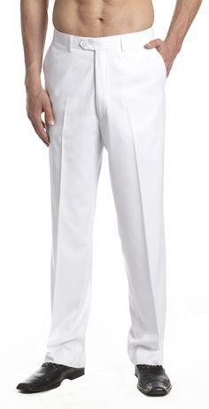 Men's Dress Pants Trousers Flat Front Slacks WHITE CONCITOR