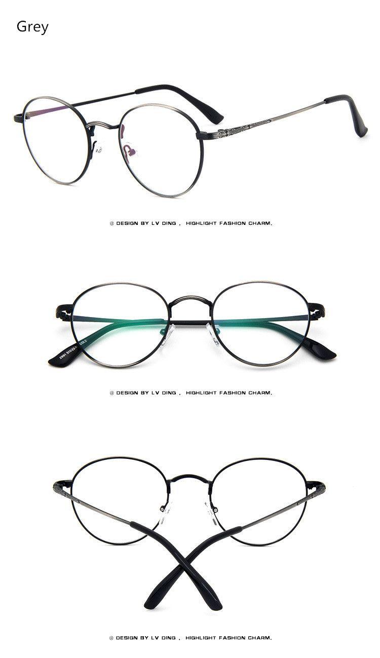 2017 High Quality Men Women Retro Round Metal Eyeglasses Frames