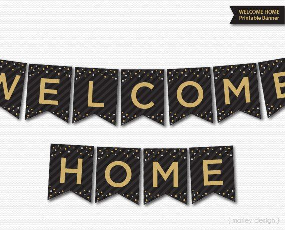 photograph relating to Printable Welcome Home Banner referred to as Welcome Dwelling Banner Printable Black Gold Welcome Banner