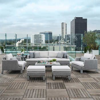 Portofino Modern Sling 8 Piece Seating Set In Space Gray | Fresno Pool/Patio  Furniture | Pinterest | Pool Patio Furniture, Patios And Modern