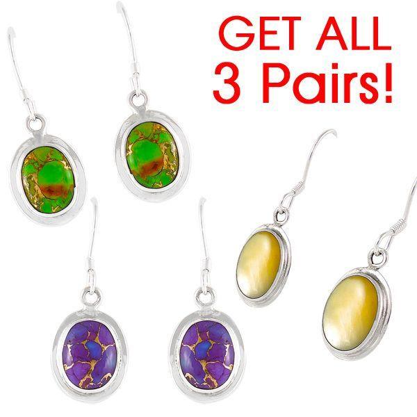 3 PAIRS! Sterling Silver Earrings Multi Gemstones E1139-GET3