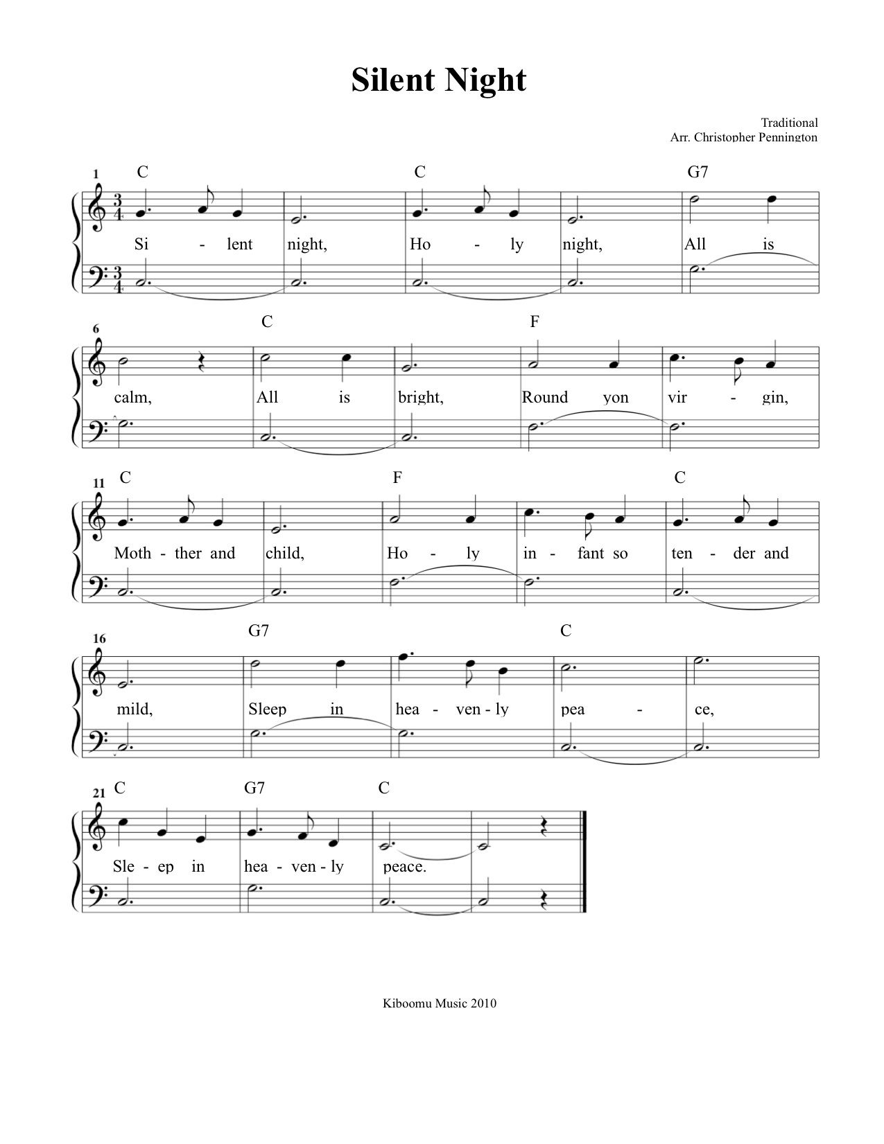 Silent Night Sheet Music and Silent Night Christmas Song for Kids! | Christmas music for kids ...