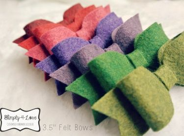 3 pieces of 3.5 inches Wool Blend Felt Bows in FALL colors. Great for projects, packaging, accessories, gifts