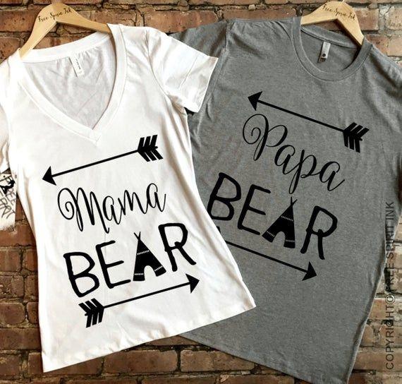 Mama and Papa Bear Shirt Set. Baby Shower Gifts. Couples Shirts. Mama and Papa Shirts. Bear Shirts. #papashirts