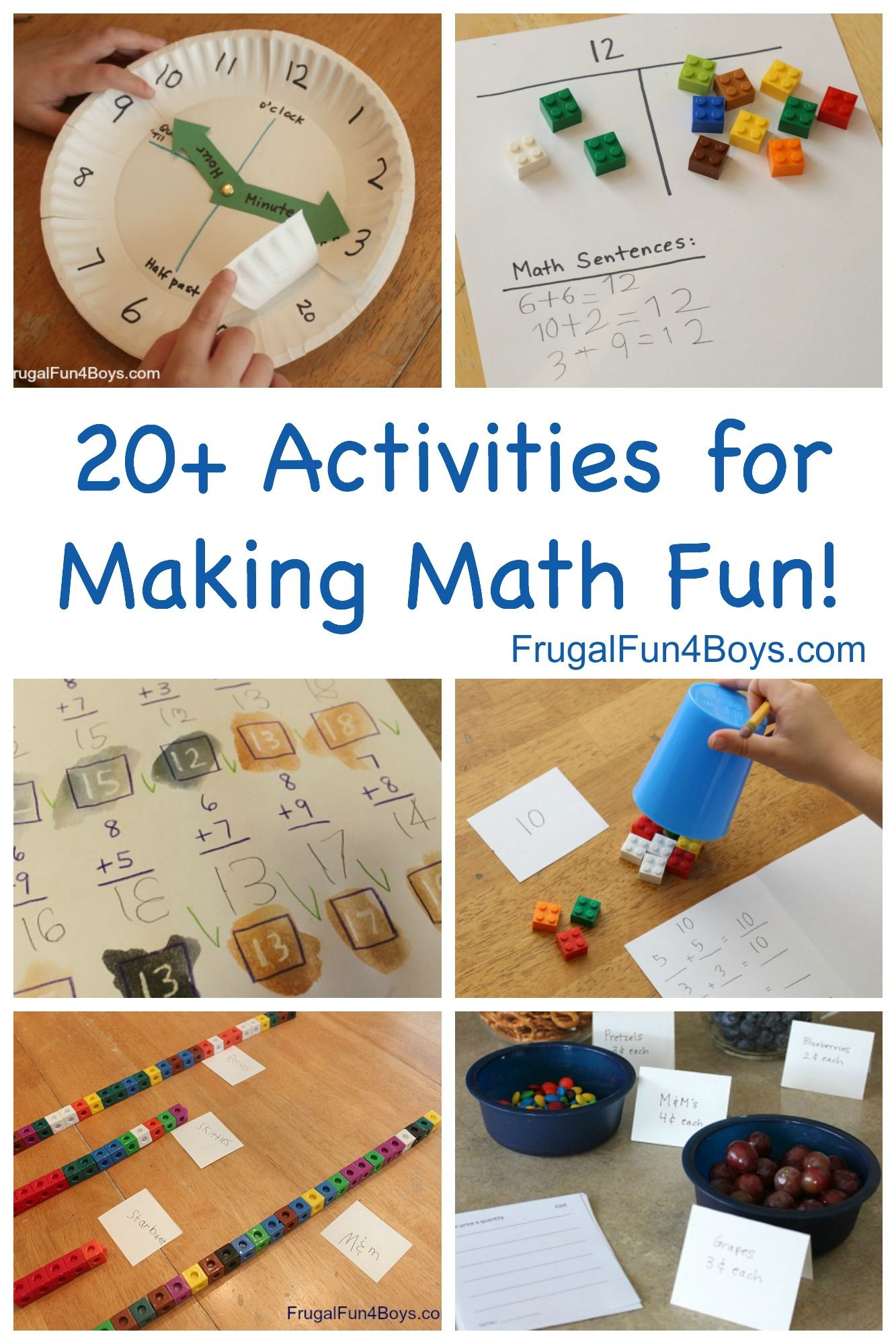 Hands On Math Activities For Making Elementary Math Fun Frugal Fun For Boys And Girls Math Activities Elementary Elementary Math Fun Math