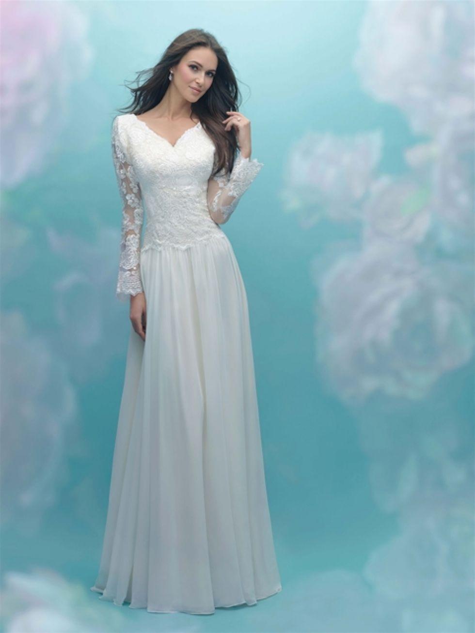 Modest wedding dress with dropped waist, english net skirt, v neck ...
