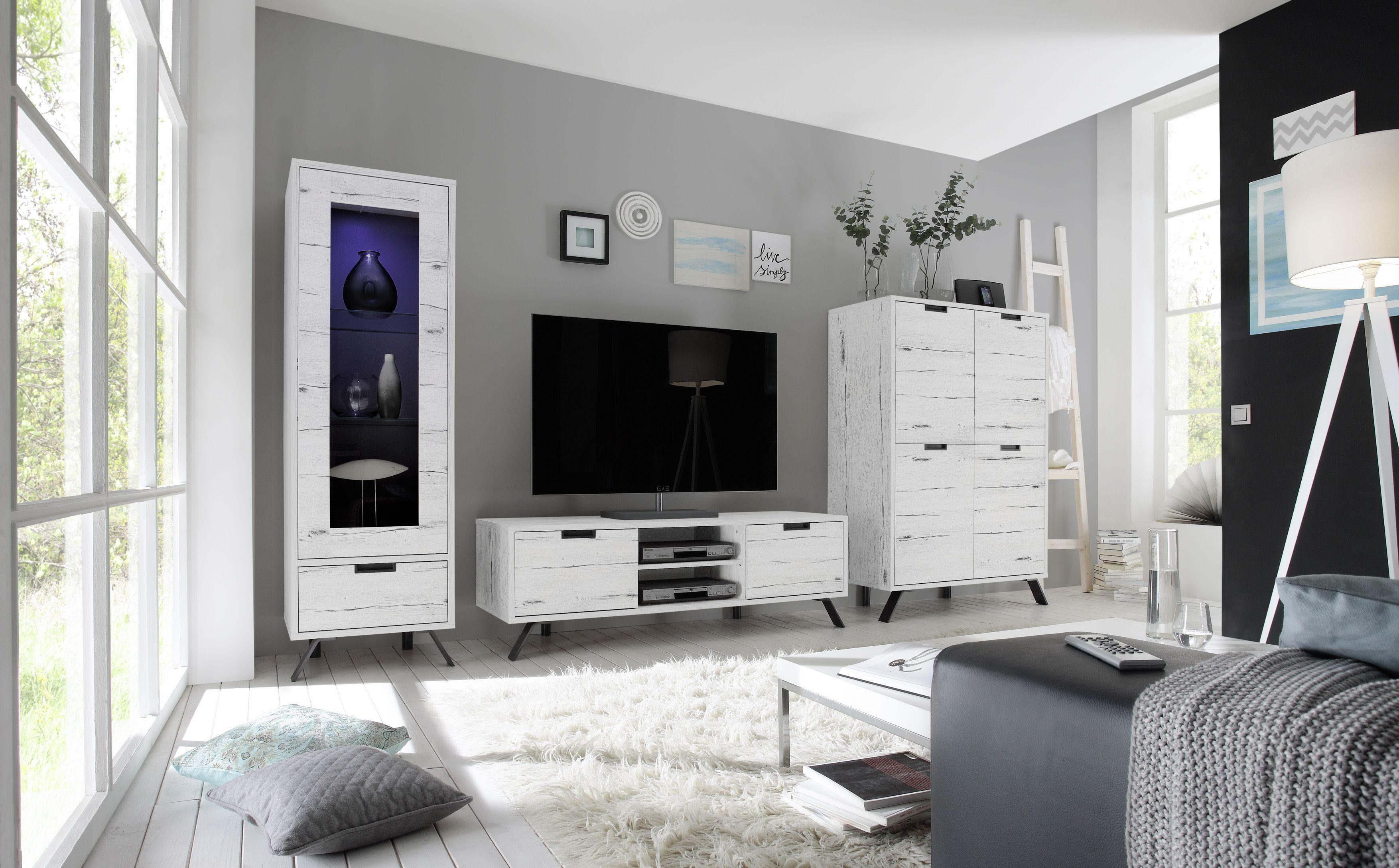 Wohnwand Weisseiche Nachbildung Woody 12 01303 Holz Modern Jetzt  # Hcommehome Meuble Tv