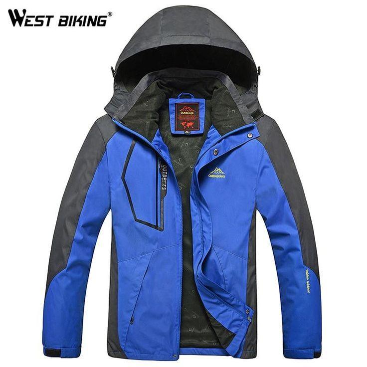 b2d524e368 WEST BIKING Men Winter Waterproof Windproof Hooded Jacket Outdoor Sport Warm  Large Size Hiking Cycling Mountain Climbing Jacket