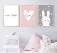 Photo of Kids Room Cartoon Poster Children Poster Baby Girl Room Decor Wall Art Paintings Nursery Paintings for Living Room Wall Unframed