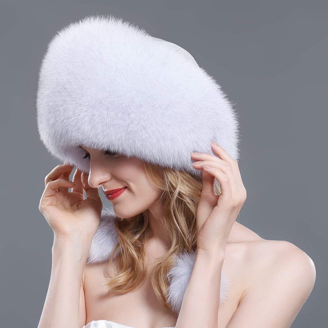 6eba0555e4b URSFUR Women s Winter Fox Fur Roller Hat with Leather Top with Fur Ball Pom  Poms Fox
