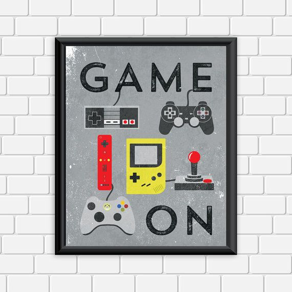 Video Game Printable Art Typography Game Controllers Modern Vintage Art Print Wall Art Home Decor Printable Art Typography Video Game Bedroom Video Game Decor
