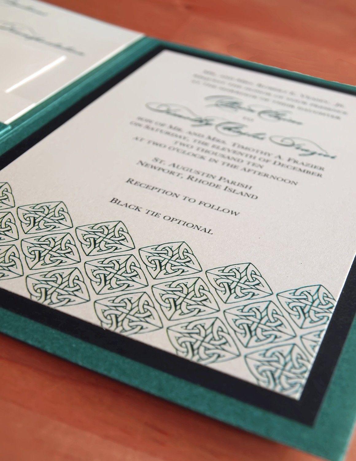 irish green celtic wedding invitation a7 pocket folded - Celtic Wedding Invitations