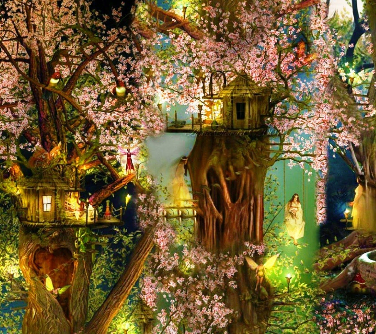 House Hd Wallpaper: Beautiful Tree House Fantasy Fairy Tale Images Pictures HD