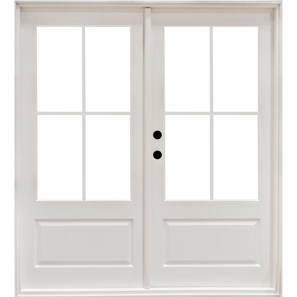 Masterpiece 59 1 4 In X 79 1 2 In Fiberglass White Right Hand Outswing Hinged 3 4 Lite Patio Door With Patio Doors French Doors Patio Fiberglass Patio Doors