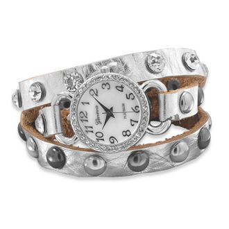 Wrap Around Leather Watch - Silver. Want!