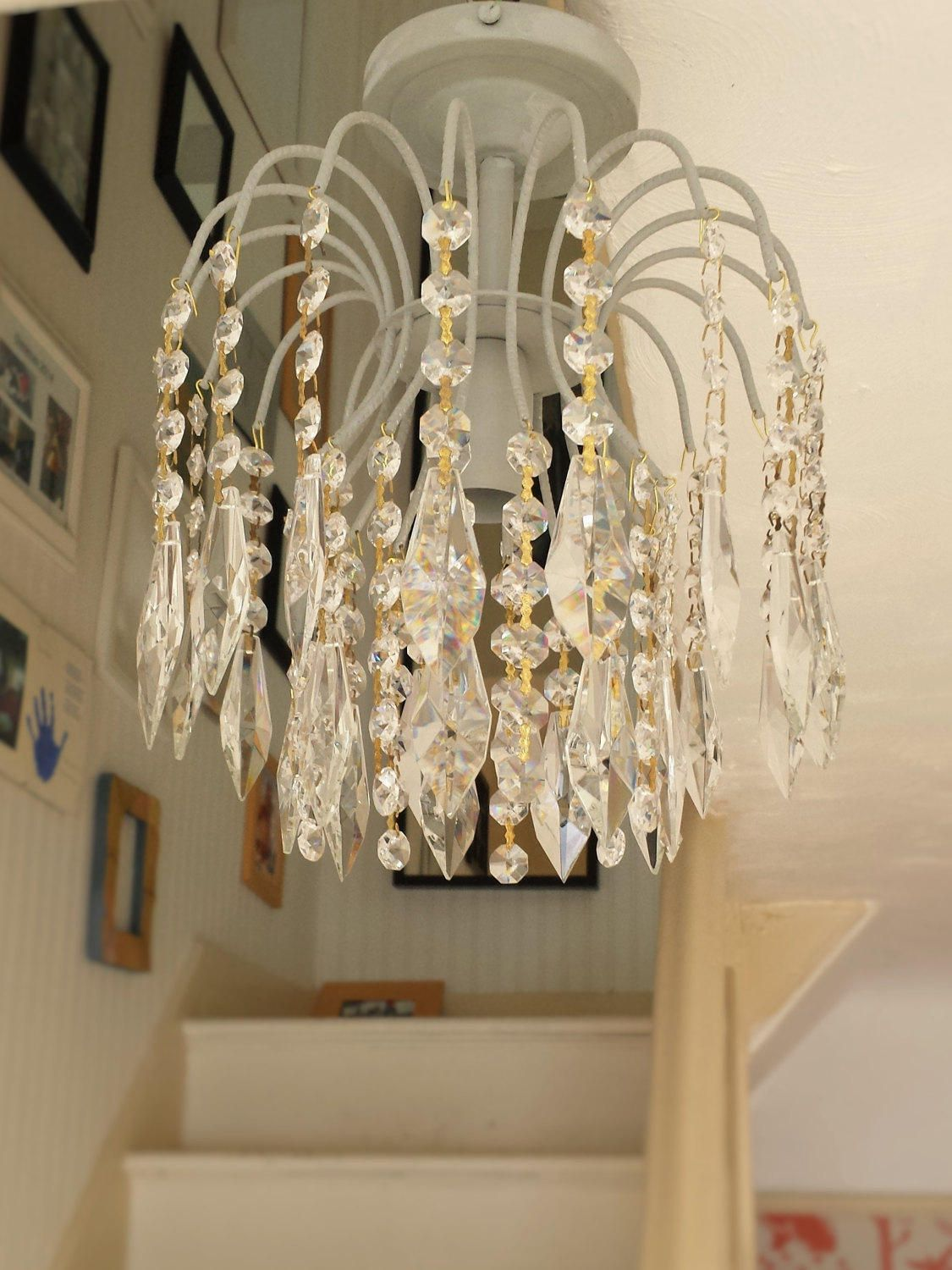 Lighting Crystal Chandelier Paris Grey Annie Sloan Chalk Paint Upcycled Light Modern Flush Mount Fixture With Leaded Glass By