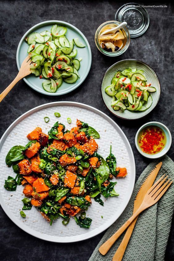 Photo of Vegan Fried sweet potatoes with sesame spinach and Asian cucumber salad – GourmetGuerilla