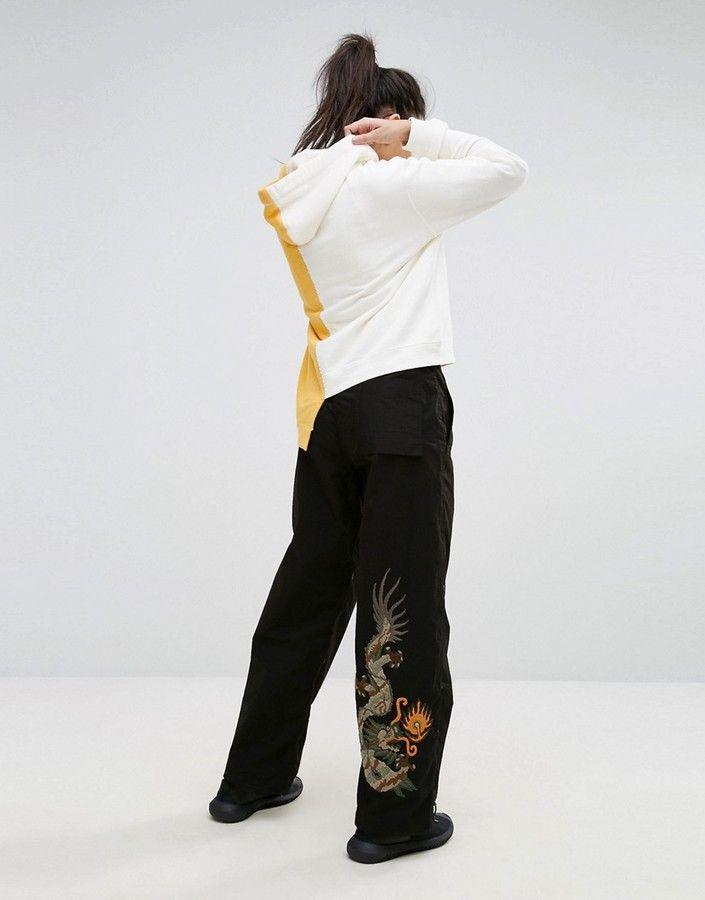 b0a9454a14d2 Maharishi Wide Leg Snopants With Dragon Embroidery Trousers Women, Wide Leg  Trousers, Women's Trousers