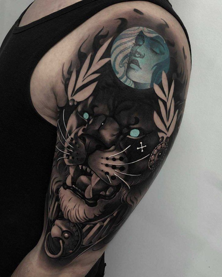 Tattoo Designs Braso: Dark Lion Tattoo On Shoulder