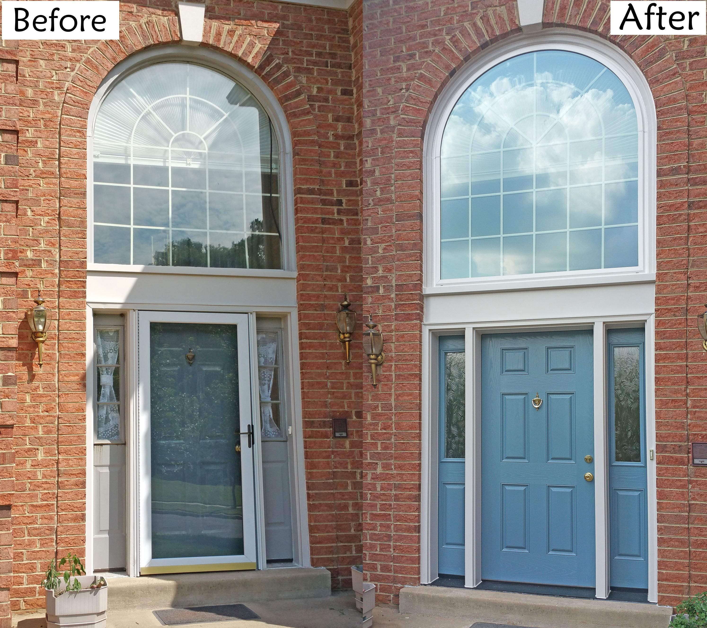 Provia heritage oak skin fiberglass door geneva blue for Where to buy atrium windows