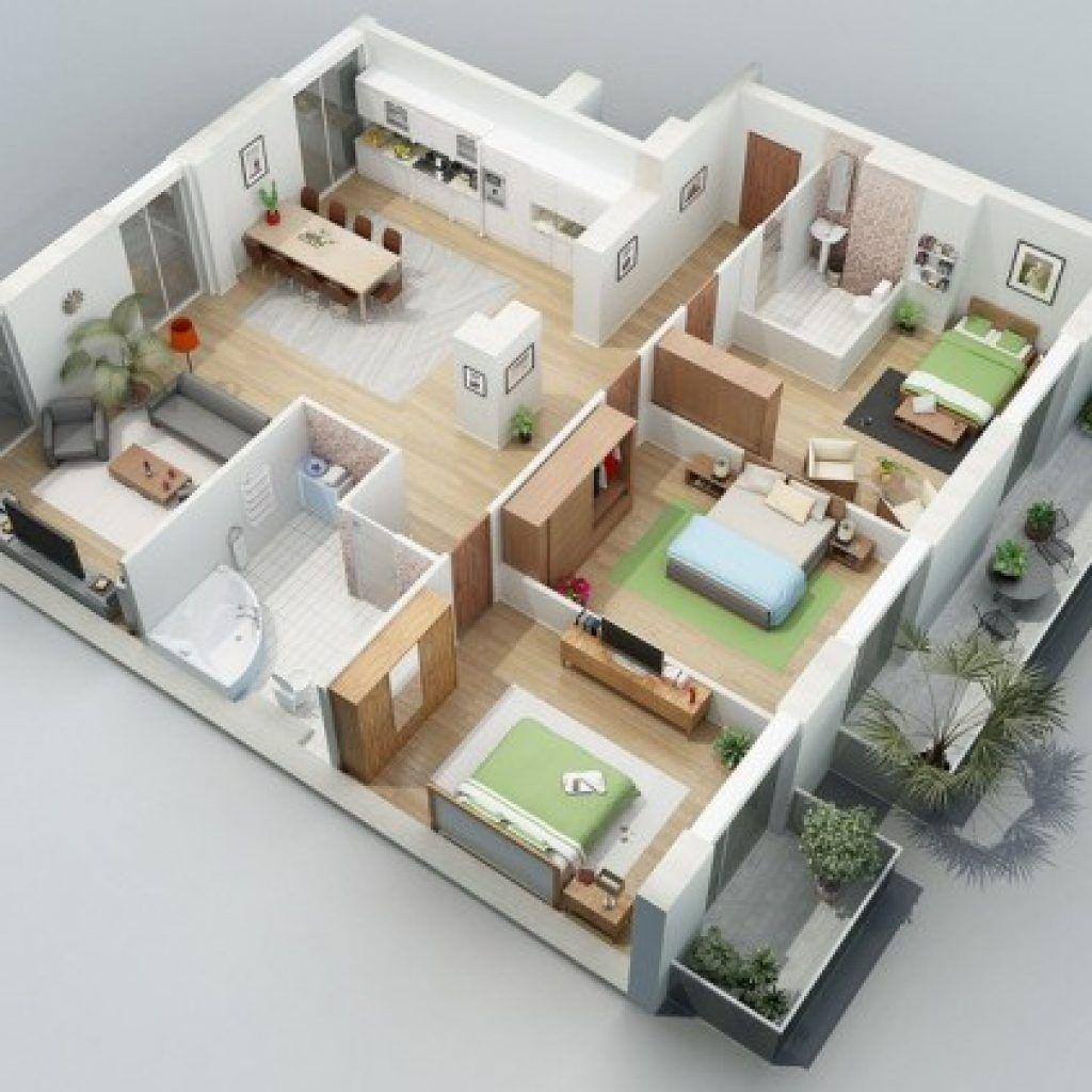 Denah Rumah Minimalis Type 45 3 Kamar Terbaru Denah Rumah 3d Denah Rumah Tata Letak Rumah