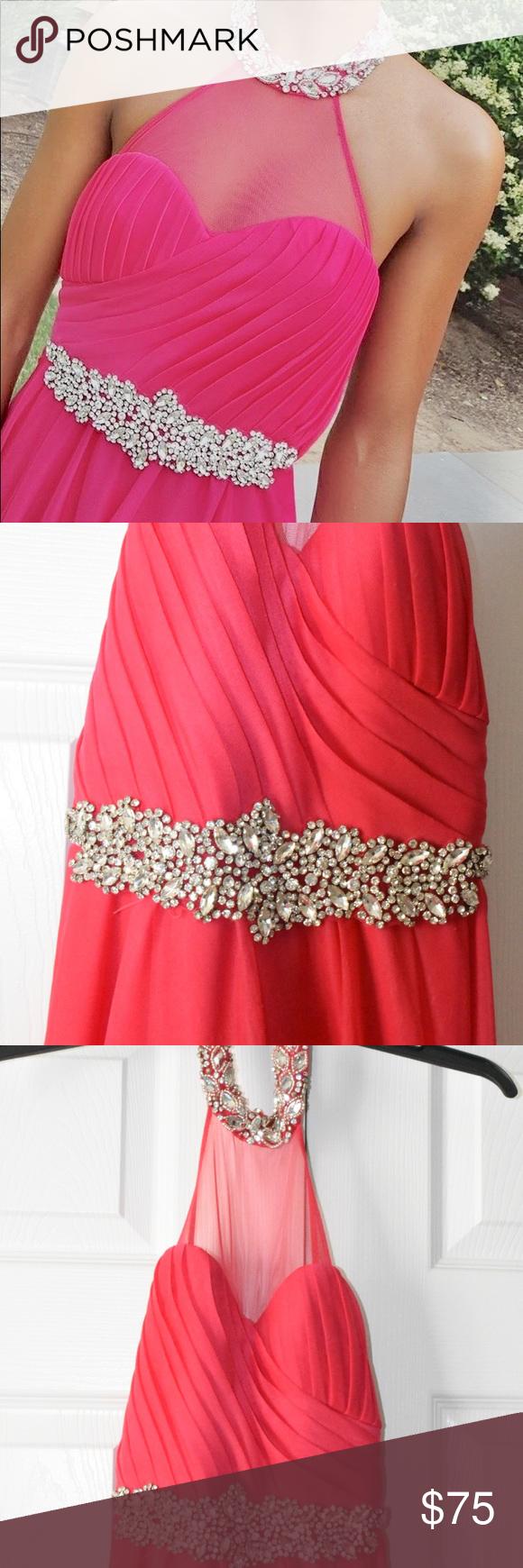 Hot pink prom dress size juniorus my michelle prom dress size