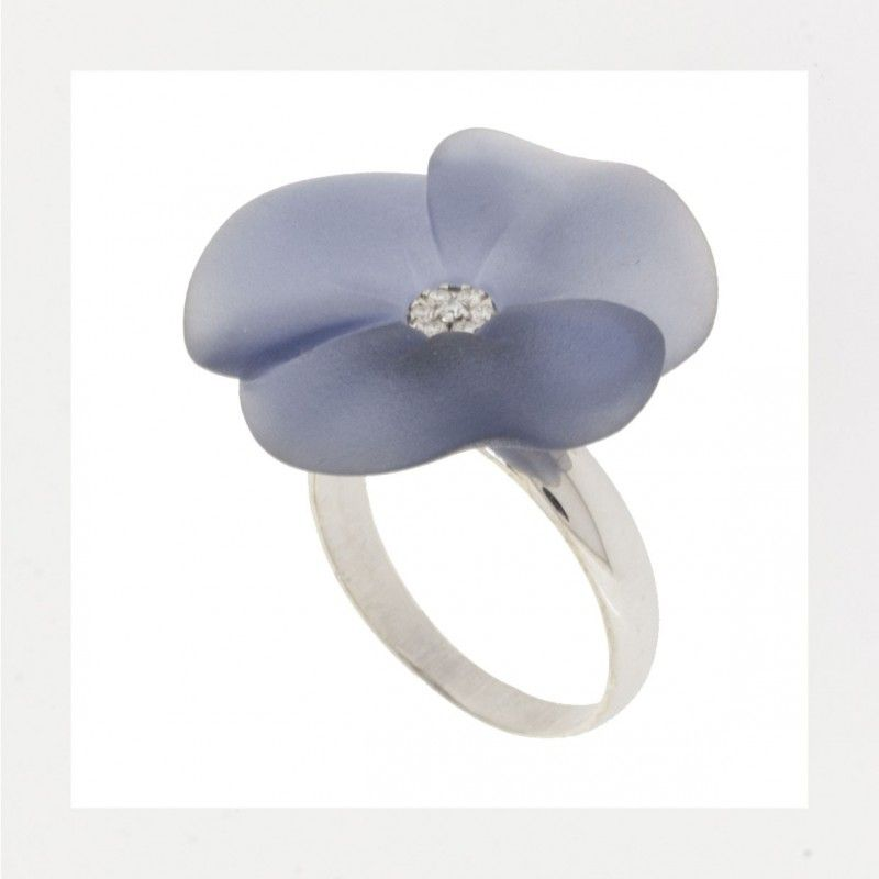opaque grey resin flower, white gold & diamonds