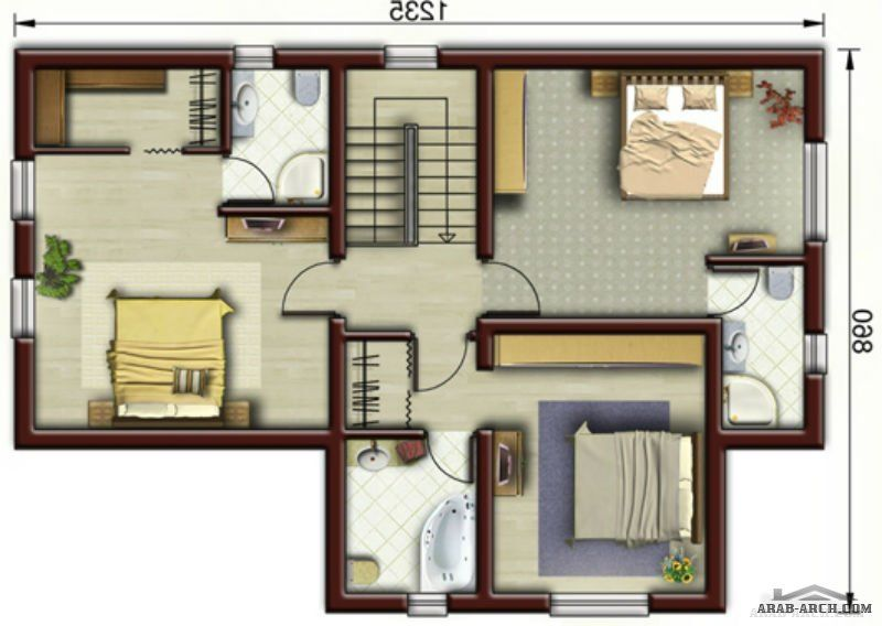 تصاميم فيلا صغيرة المساحه 4 غرف نوم ماستر Bungalow Design Classic House Design House Layout Plans