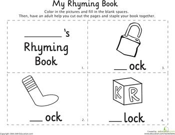 My Rhyming Book: -Ock   Stuff for kids   Kindergarten ...