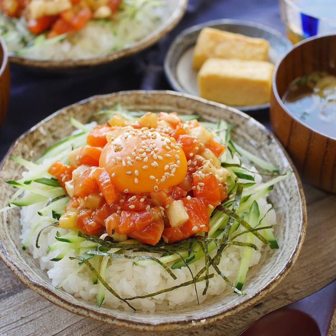 焼き肉のたれで サーモンのトロたくユッケ丼 レシピ レシピ 料理